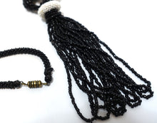 Load image into Gallery viewer, Vintage Flapper 1920s Black, White & Red Beaded Tassel Necklace