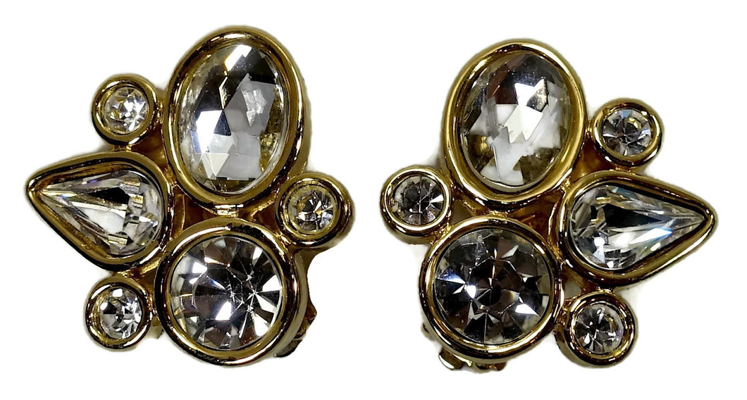 Vintage Signed Givenchy Abstract Crystal Earrings