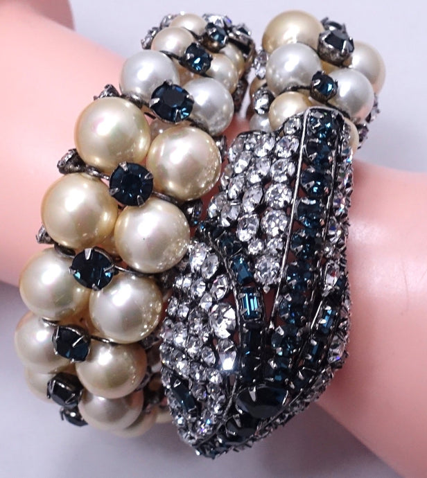 Vintage Magnificent Iradj Moini Faux Pearl & Crystal Wrap Snake Bracelet