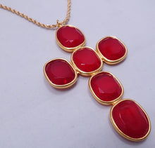 "Load image into Gallery viewer, Signed Kenneth Lane Red Cross 4-1/2"" Pendant Necklace"