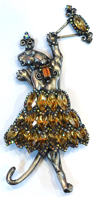 Huge Vintage Signed Danny Pollak Dancing Tiger? Sterling Silver Brooch