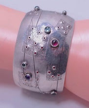 Load image into Gallery viewer, Vintage Signed G. Nicago Sterling Silver & Gemstone Cuff
