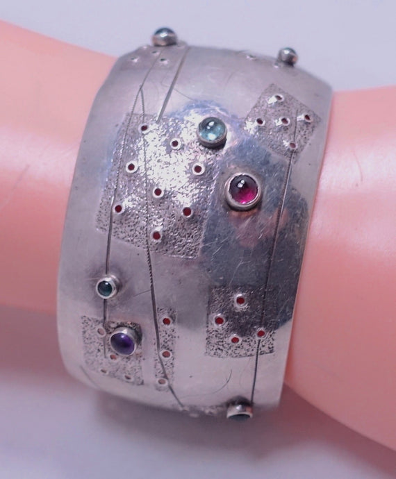 Vintage Signed G. Nicago Sterling Silver & Gemstone Cuff