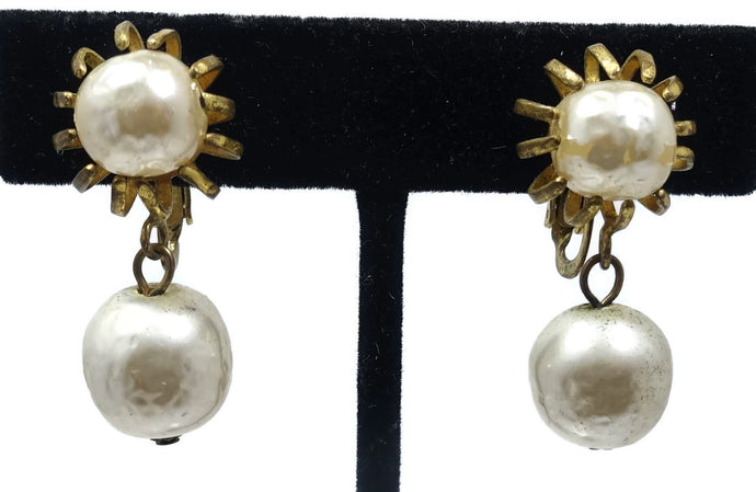 Vintage Signed Miriam Haskell Faux Pearl Drop Earrings