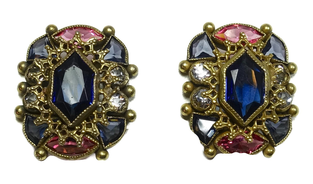 Art Deco 1930s Vintage Signed Sandor Multi-Color Crystals Earrings