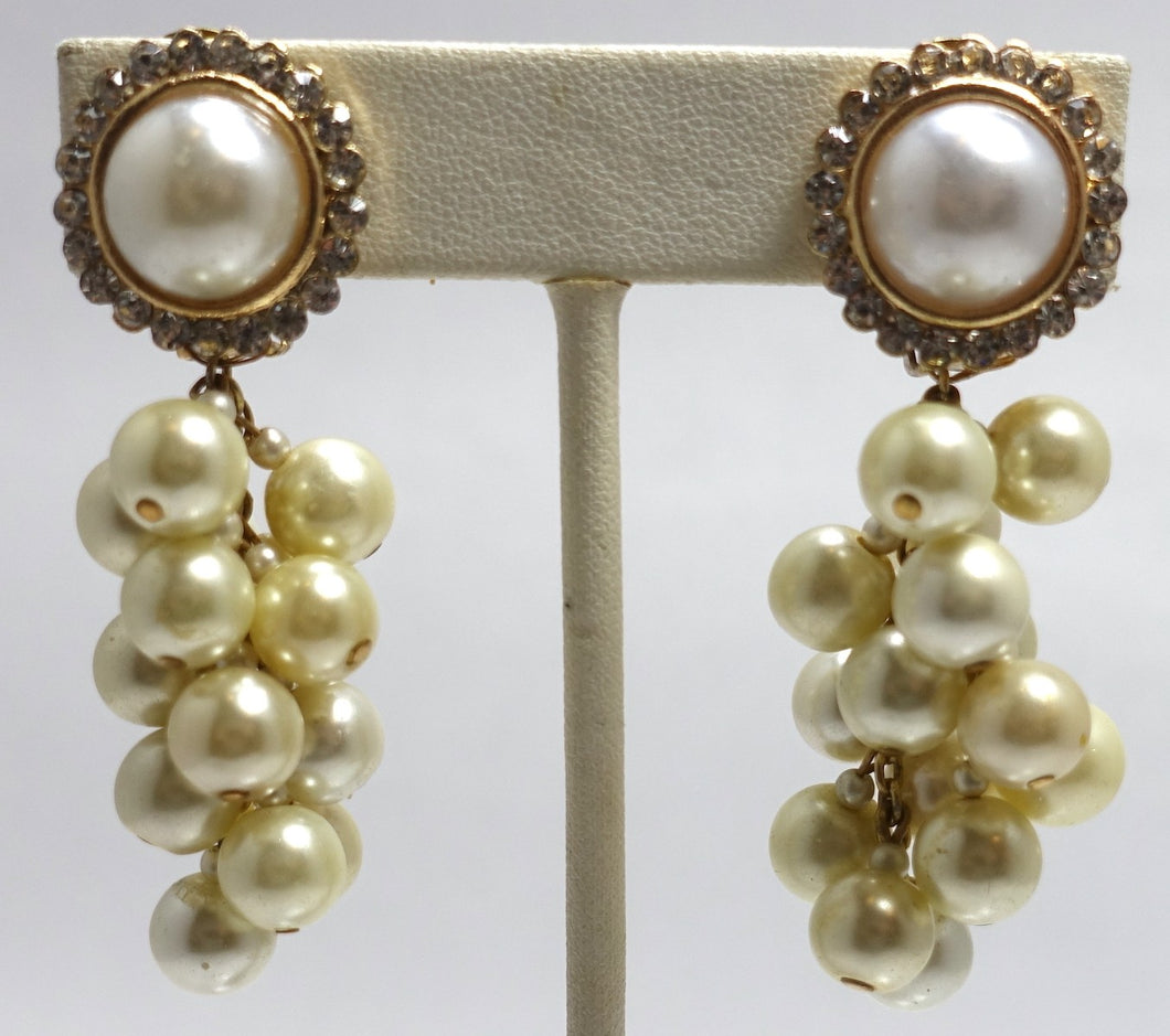 Vintage Signed DeMario Faux Pearl Drop Earrings