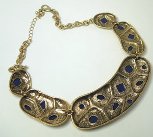 Unsigned Oscar De La Renta Lapis Resin Cabochon Necklace