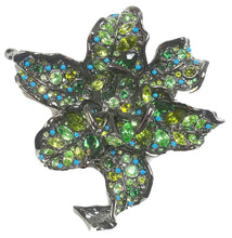 Load image into Gallery viewer, Signed Kenneth Jay Lane Green Crystal Camellia Brooch