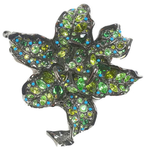 Signed Kenneth Jay Lane Green Crystal Camellia Brooch