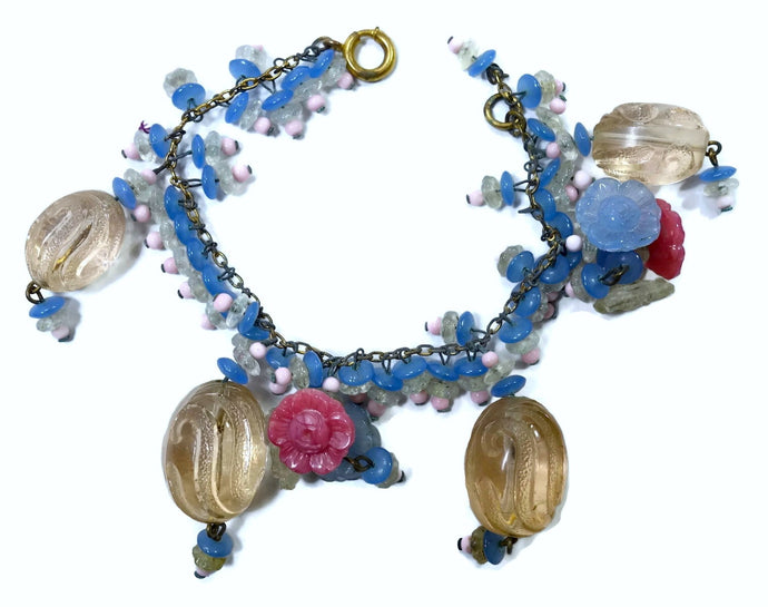 Famous RARE Book Piece Early Miriam Haskell French Glass Beads Bracelet