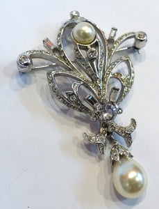 Vintage Signed Reja Faux Pearl & Crystals Dangling Brooch