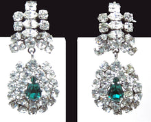 Load image into Gallery viewer, Vintage Signed l950s Austrian Crystal Drop & Faux Emerald Clip Earrings