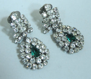 Vintage Signed l950s Austrian Crystal Drop & Faux Emerald Clip Earrings