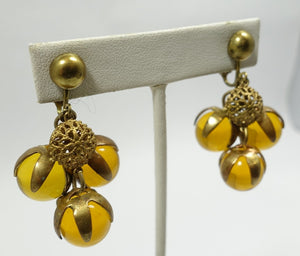 Vintage Amber Glass Drops Earrings