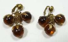 Load image into Gallery viewer, Vintage Amber Glass Drops Earrings