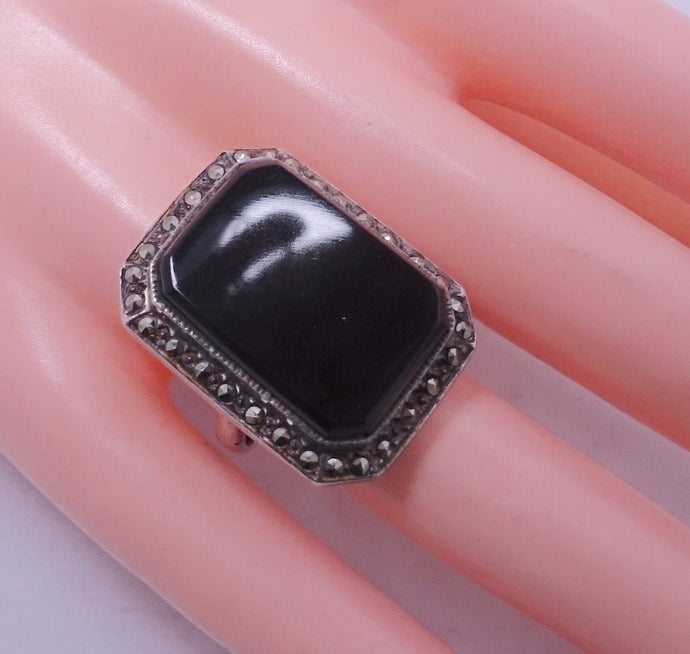 Vintage Onyx, Marcasite & Sterling Silver Ring, Size 8