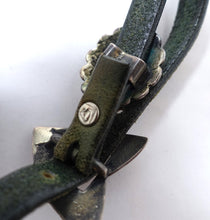 Load image into Gallery viewer, Vintage Signed Arthur Goldstein Sterling Silver & Black & Green Leather Boot Strap Jewelry