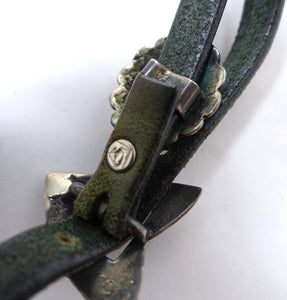 Vintage Signed Arthur Goldstein Sterling Silver & Black & Green Leather Boot Strap Jewelry