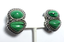 Load image into Gallery viewer, Vintage 1980s David Grau Faux Malachite Earrings