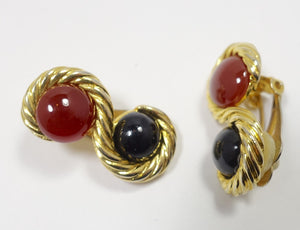 Vintage Faux Carnelian & Blue Stone Gold Tone Earrings