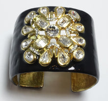 Load image into Gallery viewer, Kenneth Jay Lane Black Enamel & Rhinestone Clamper Bracelet