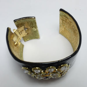 Kenneth Jay Lane Black Enamel & Rhinestone Clamper Bracelet