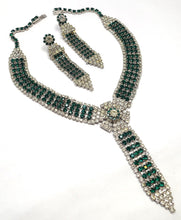Load image into Gallery viewer, Vintage 1950's Green & Clear Crystals Necklace & Earrings