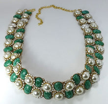 Load image into Gallery viewer, Vintage 1960's K.J. L. Rare Faux Pearl & Green Stone Belt