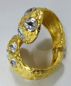 Signed Glitzy Kenneth Jay Lane Rhinestone Clamper Bracelet