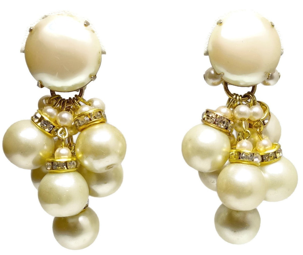 Vintage Signed DeMario Faux Pearl & Crystal Earrings