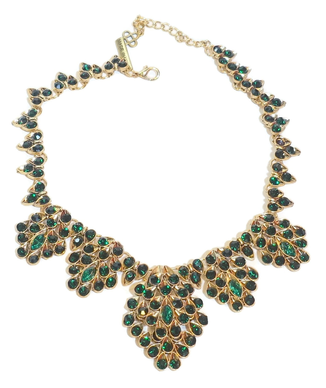 Oscar De La Renta Green Crystal Bib Necklace