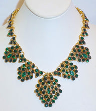 Load image into Gallery viewer, Oscar De La Renta Green Crystal Bib Necklace