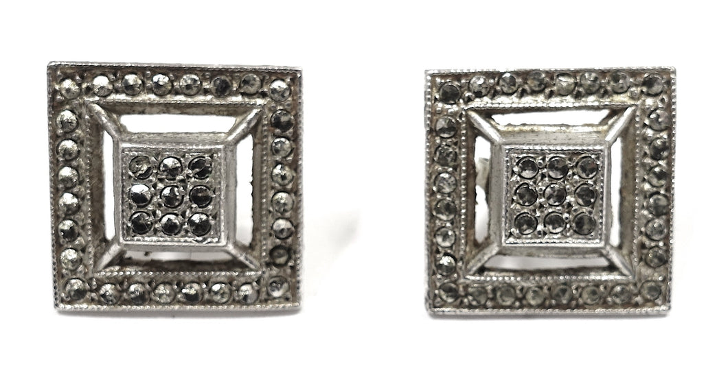Vintage Marcasite & Sterling Silver Pierced Earrings