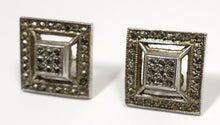 Load image into Gallery viewer, Vintage Marcasite & Sterling Silver Pierced Earrings