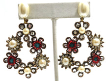 Load image into Gallery viewer, Vintage Faux Pearl & Crystals Floral Clip Dangling Earrings