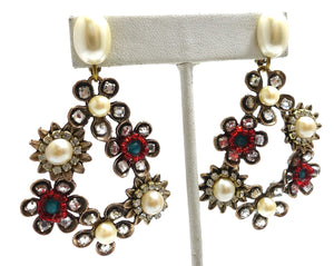 Vintage Faux Pearl & Crystals Floral Clip Dangling Earrings
