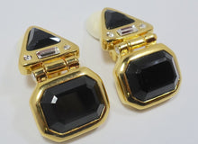 Load image into Gallery viewer, Signed Kenneth Jay Lane Black & Clear Rhinestone Earrings