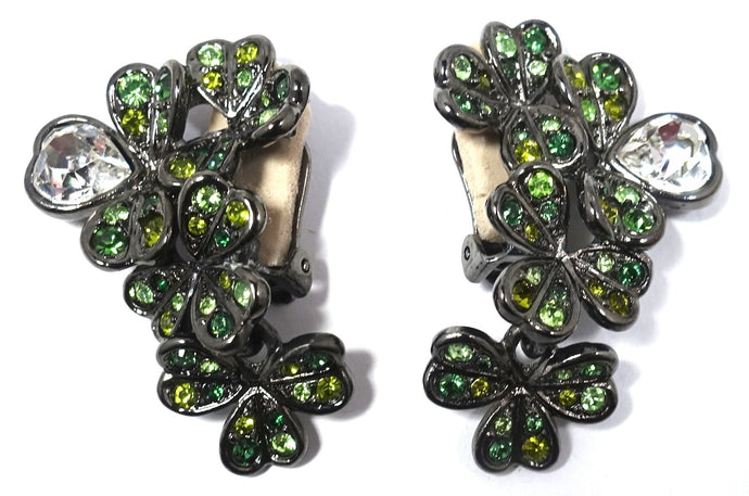 Signed Kenneth Jay Lane Green Rhinestone 4-Leaf Clover & Heart Earrings