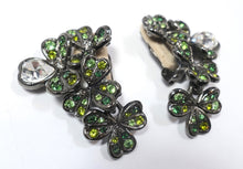 Load image into Gallery viewer, Signed Kenneth Jay Lane Green Rhinestone 4-Leaf Clover & Heart Earrings