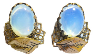 Vintage Faux Moonstone Clip Earrings