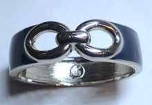 Load image into Gallery viewer, Vintage Signed BR Blue Enamel Clamper Bracelet
