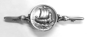 Vintage Rare Signed Sterling Georg Jensen Denmark Viking Ship Brooch