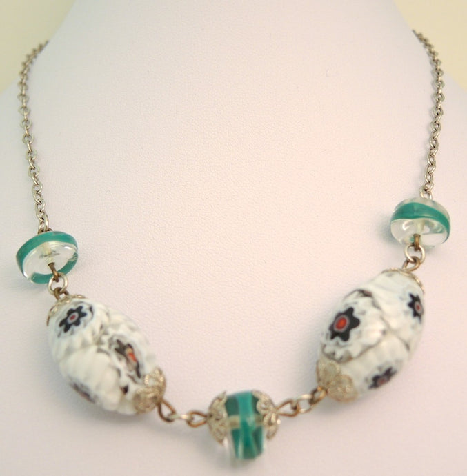 Vintage French Deco 1930s Multi-Color Glass Bead Necklace