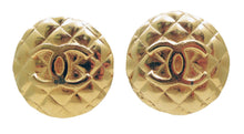 Load image into Gallery viewer, Vintage Signed Chanel CC Quilted Logo Earrings