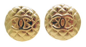 Vintage Signed Chanel CC Quilted Logo Earrings