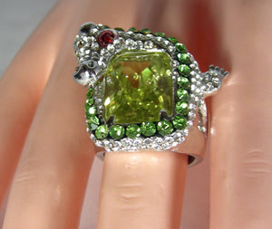 Vintage CZ/Rhinestone Alligator Ring