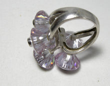 Load image into Gallery viewer, Sterling Silver Lavender Austrian Crystal Floral Ring - JD10191