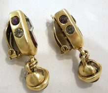 Load image into Gallery viewer, Vintage Amethyst Crystals & Smoky Crystals Earrings