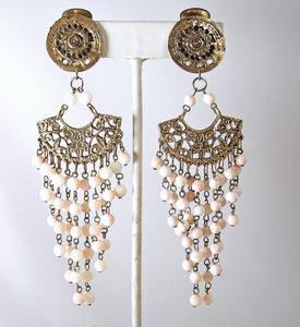 Long Vintage Faux Angel Coral Dangling Bead Earrings