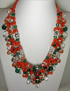 Vintage Signed Anka Faux Coral, Green & Clear Glass & Crystals 2-Strand Necklace